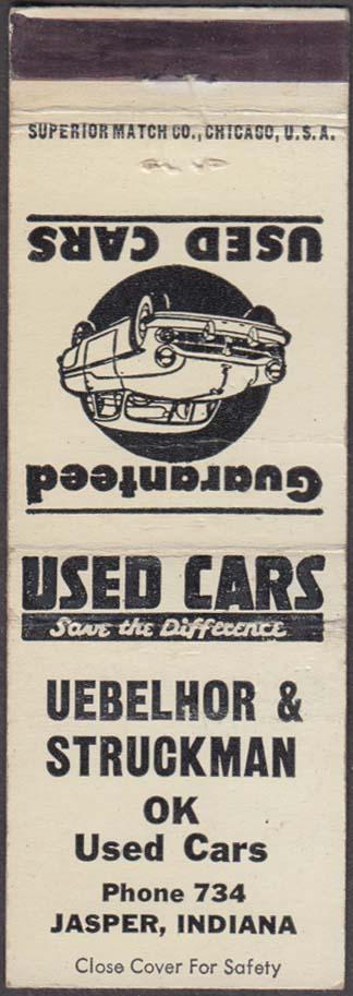 Uebelhor & Struckman OK Used Cars Jasper IN matchcover