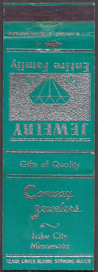 Conway Jewelers Lake City MN matchcover