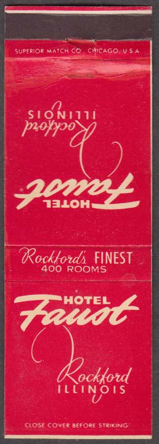 Hotel Faust Rockford IL matchcover