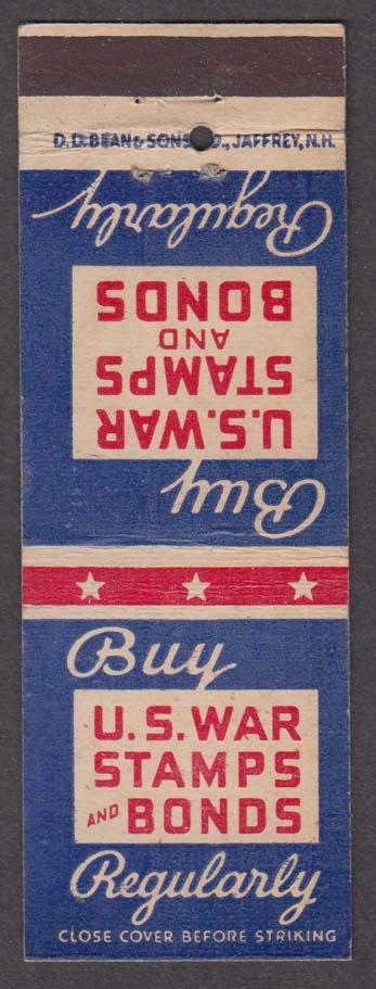 Buy US War Stamps & Bonds Regularly matchcover