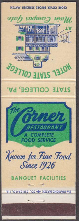 The Corner Restaurant Hotel State College Main Campus Gate matchcover
