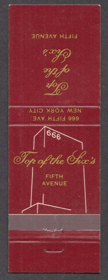 Top of the Six's 666 Fifth Ave New York City NY matchcover