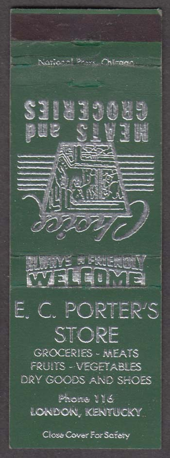 E C Porter's Meats & Groceries Store London KY matchcover