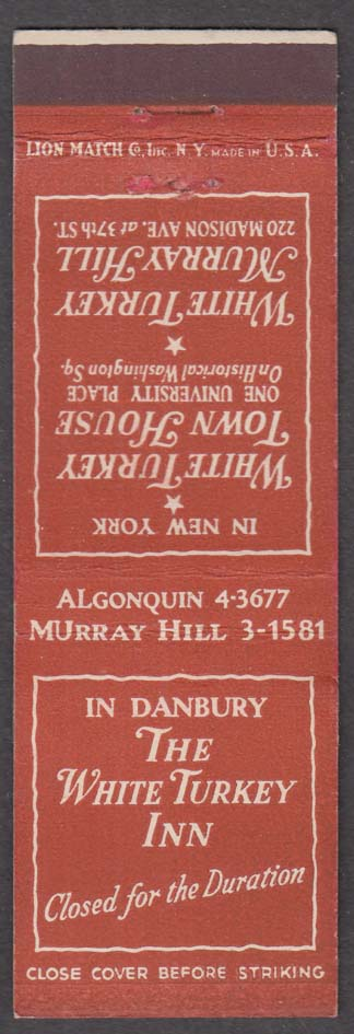The White Turkey Inn Town House Murray Hill matchcover