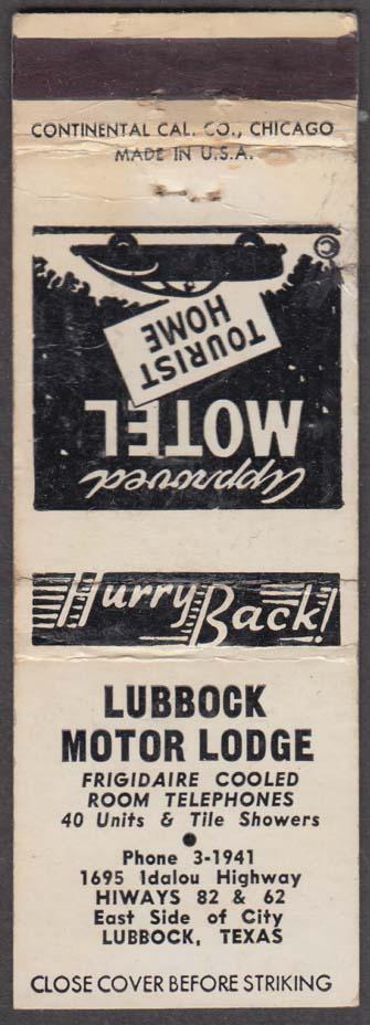 Lubbock Motor Lodge 1695 Idalou Highway Lubbock TX matchcover
