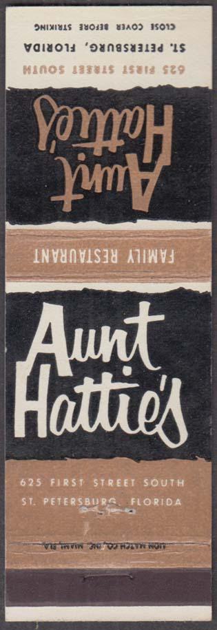 Aunt Hattie's Family Restaurant 625 1st Street South St Petersburg FL matchcover
