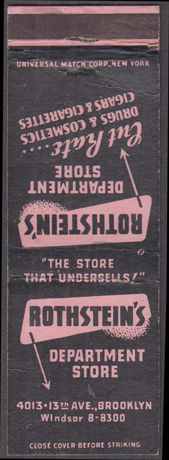 Rothstein's Department Store Brooklyn NY matchcover