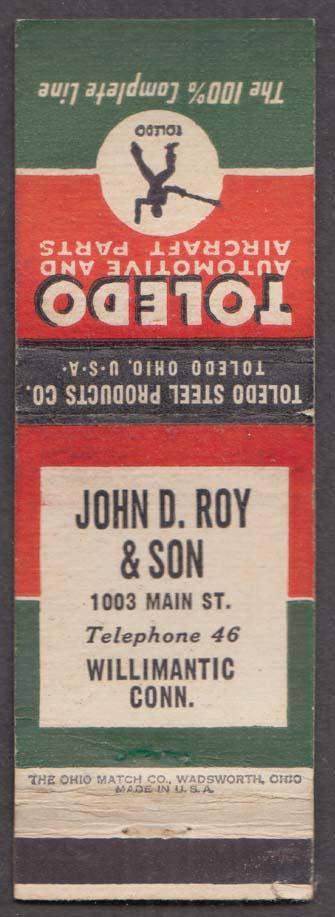Toldeo Automotive & Aircraft Parts John D Roy & Son Willimantic CT matchcover