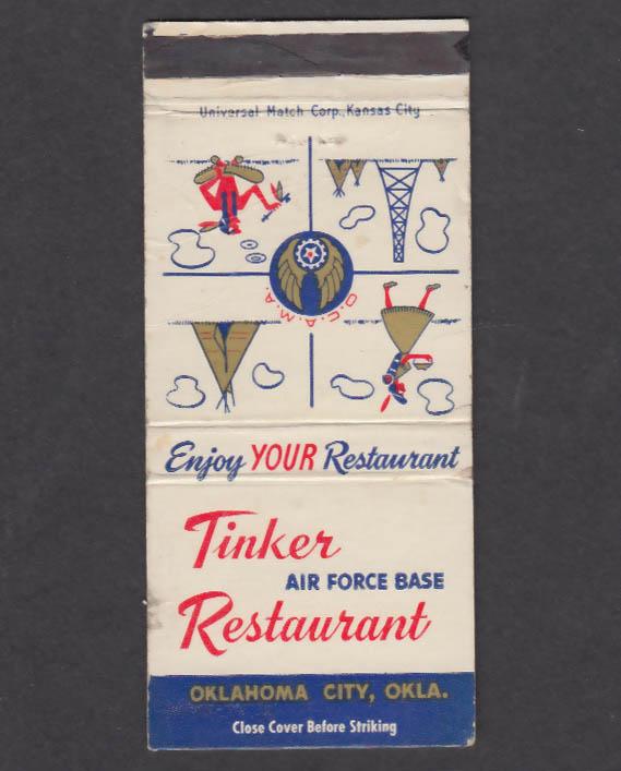 Tinker Air Force Base Restaurant Oklahoma City OK matchcover