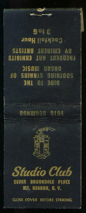 Studio Club Mount Vernon NY matchbook 40s