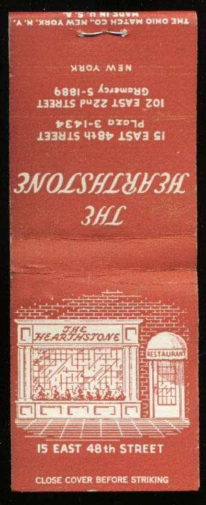 The Hearthstone Restaurant New York City matchbook 1940s