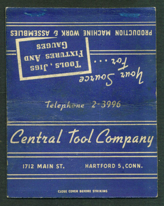 Central Tool Hartford CT matchcover 40s