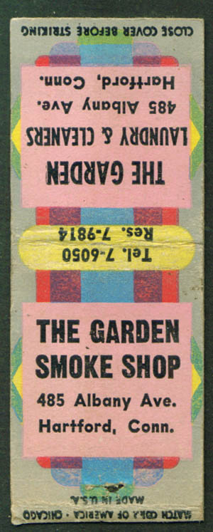 Garden Smoke Shop & Laundry Hartford CT matchcover 40s