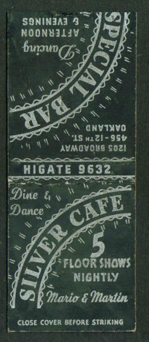 Silver Café 5 Floor Shows Oakland CA matchcover 40s