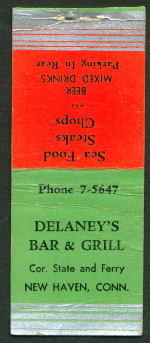 Delaney's Bar & Grill New Haven CT matchcover 1940s