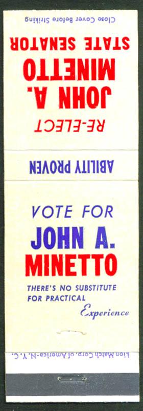 Re-elect John A Minetto State Senator matchcover 60s