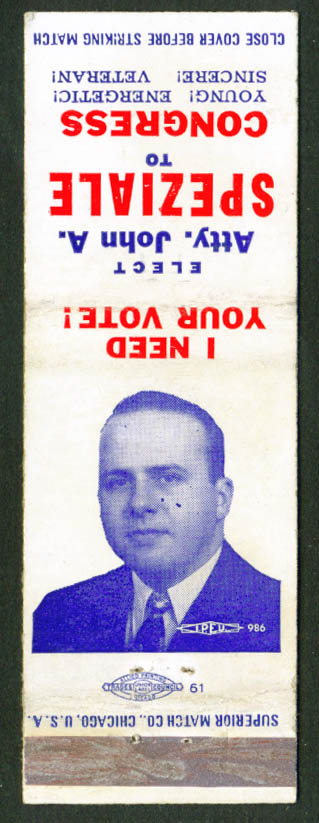 John A Speziale Democrat for Congress matchcover 60s