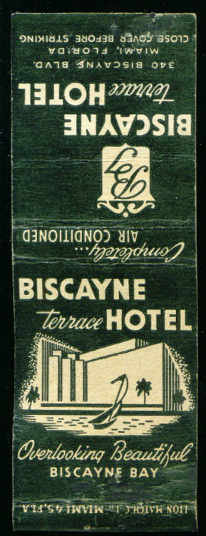 Biscayne Terrace Hotel Miami FL matchcover 1940s