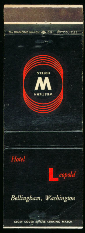 Hotel Leopold Bellingham WA matchcover 1940s