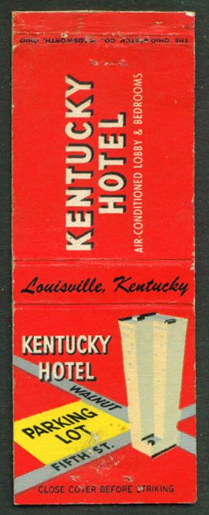 Kentucky Hotel Louisville KY matchcover 1940s