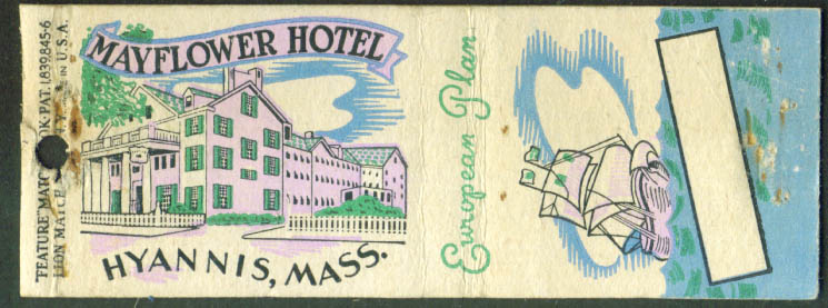 Mayflower Hotel Hyannis MA matchcover 1940s