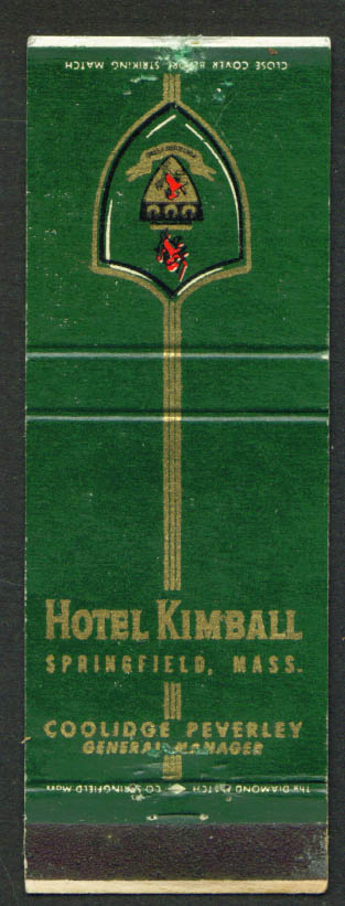 Hotel Kimball Springfield MA Coolidge Peverley matchcover 1940s