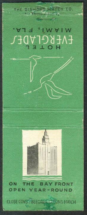 Hotel Everglades Miami FL matchcover 1940s