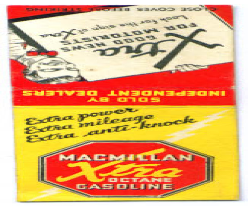 Macmillan Gasoline advertising matchcover 30s
