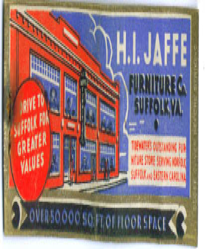 Image for Jaffe Furniture Suffolk VA matchcover 1930s