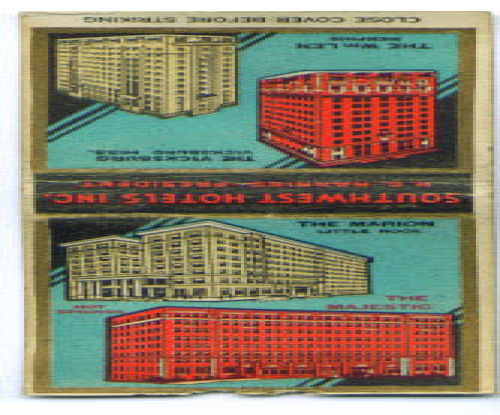 Vicksburg Wm Len Hotel MS TN matchcover 1930s