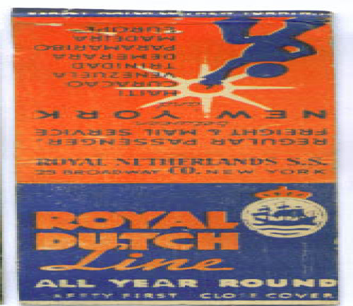 Royal Dutch Line ocean liner matchcover 1930s