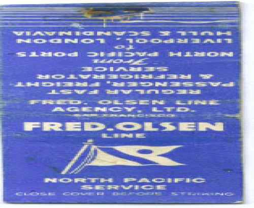 Fred Olsen Line ocean liner matchcover 1930s