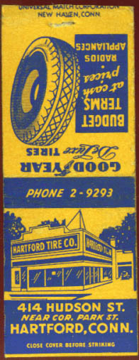 Image for Goodyear Hartford Tire CT matchcover 1940s