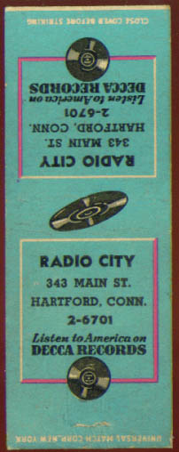 Image for Decca Records Radio City Hartford matchcover