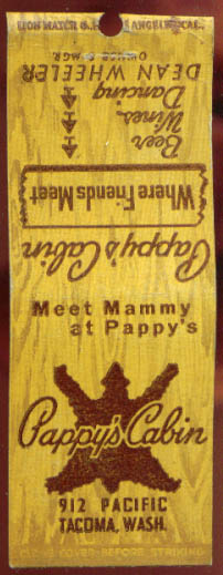 Image for Pappy's Cabin Bar Tacoma WA matchcover 1940s