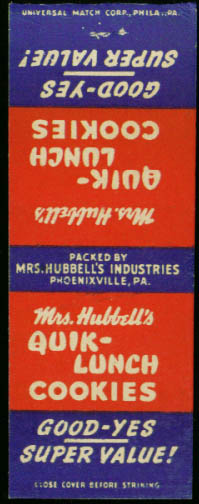Mrs Hubbell's Quik-Lunch Cookies matchcover