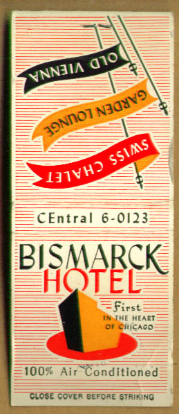 Hotel Bismarck Garden Lounge matchbook 1950s