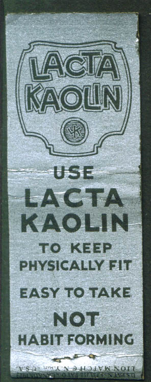 Lacta Kaolin for Colon Disorders matchcover 1940s