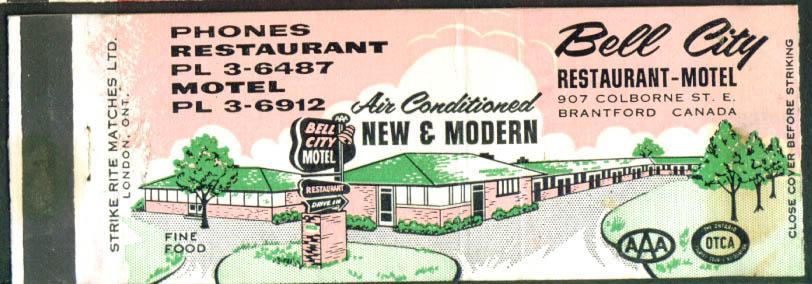 Bell City Restaurant Motel Brantford ON matchcover 50s
