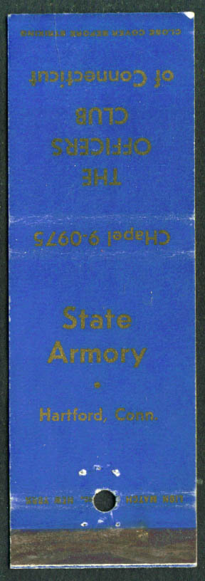 State Armory Officers Club Hartford CT matchcover 1950s
