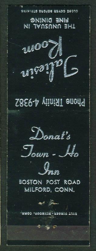 Donat's Town-Ho Inn Taliesin Room Milford CT matchcover