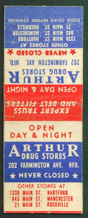 Arthur Drug Stores Hartford CT matchcover 1940s