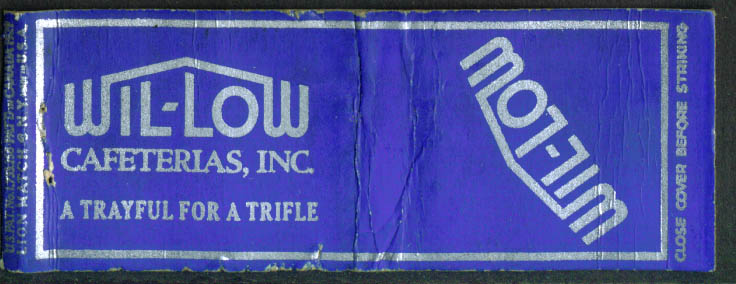 Wil-Low Cafeteria Trayful for a Trifle NYC matchcover