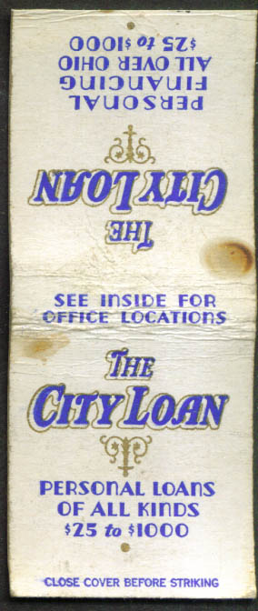 City Loan Pawn Shops OH matchcover 1940s