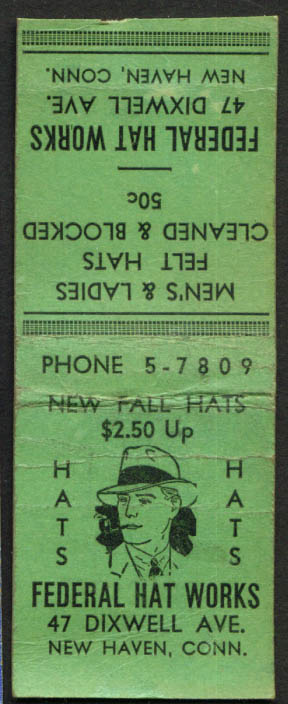 Federal Hat Works New Haven CT matchcover 1940s