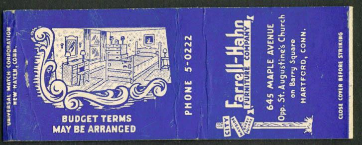 Farrell-Hahn Furniture Hartford CT matchcover 1940s