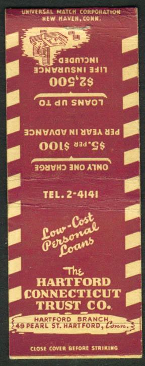 Hartford Connecticut Trust Co CT matchcover 1940s