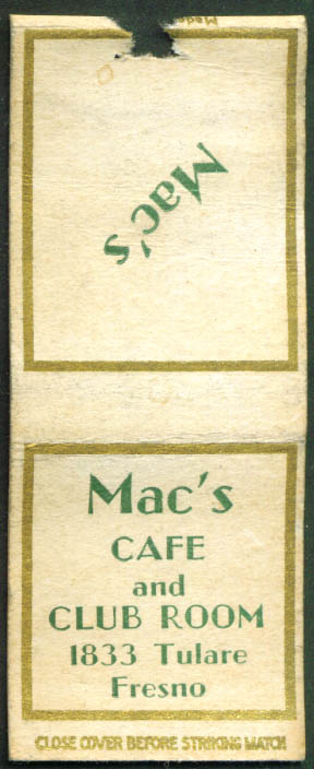 Mac's Café & Club Room Fresno CA matchcover 1940s