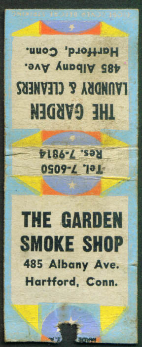 Garden Laundry Smoke Shop Hartford CT matchcover 1940s