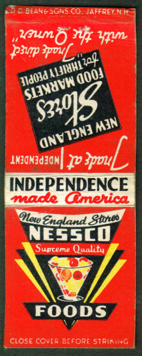 NESSCO Food Markets New England matchcover 1940s